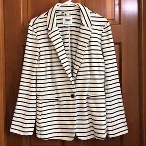 Old Navy knit blazer.  Cream with black stripes.